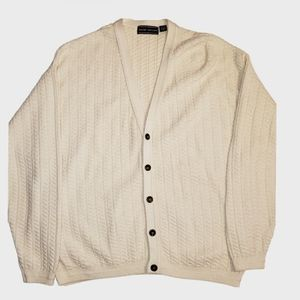 "David Taylor ""grandpa"" cardigan cream cotton XL"